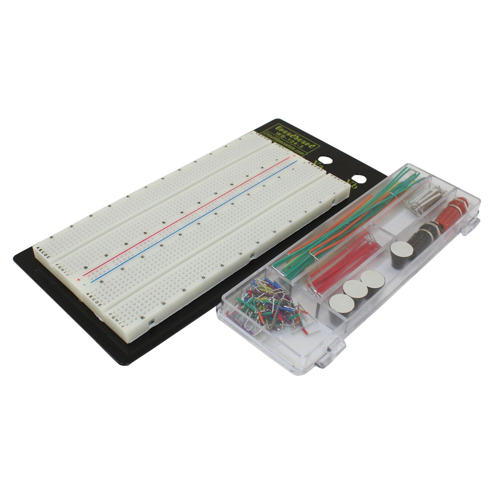 Solderless Breadboard Prototyping Board Capacitors And Resistors A Circuitbreadboard Wires Batteries With Jumper