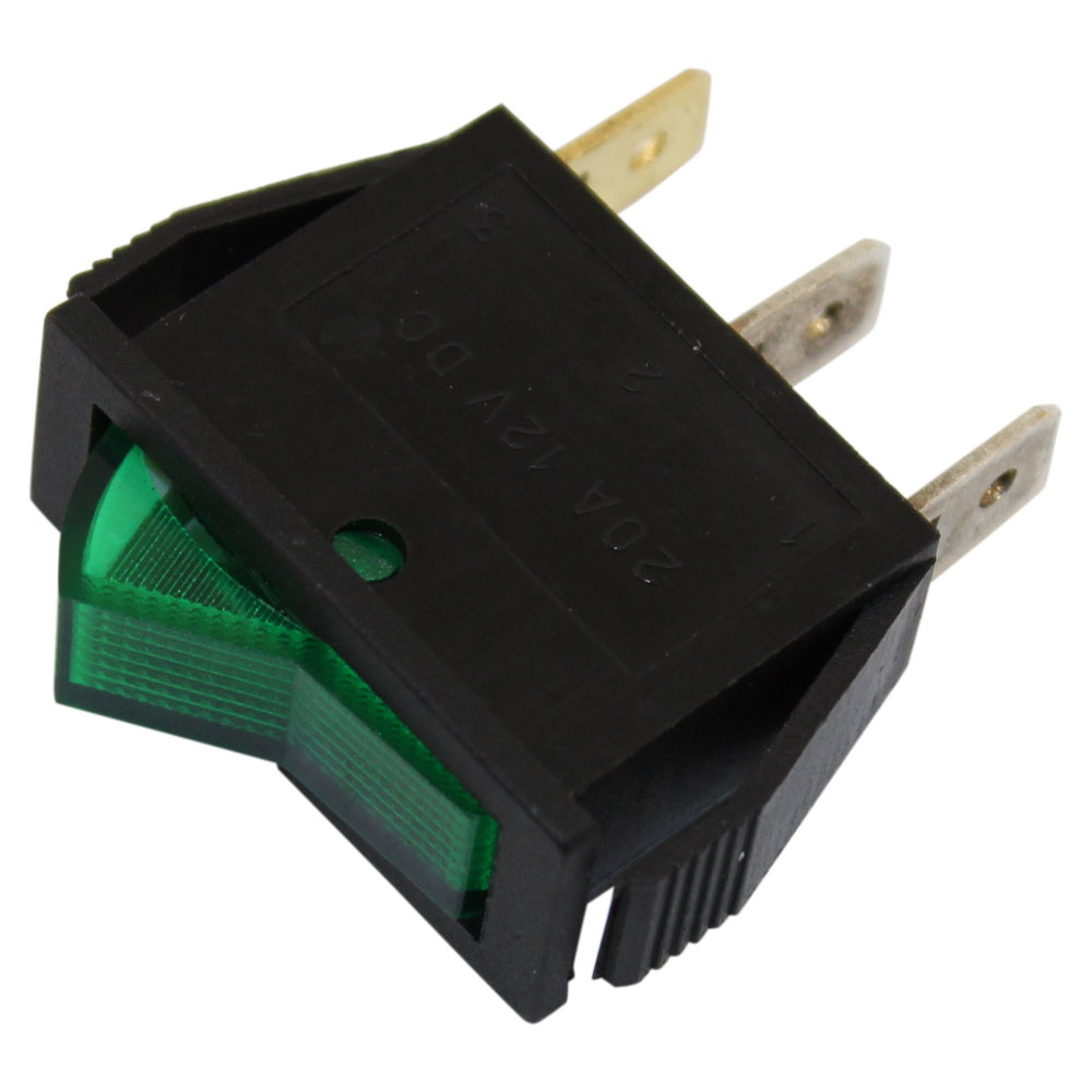 Spst On Off Green Illuminated Rocker Switch