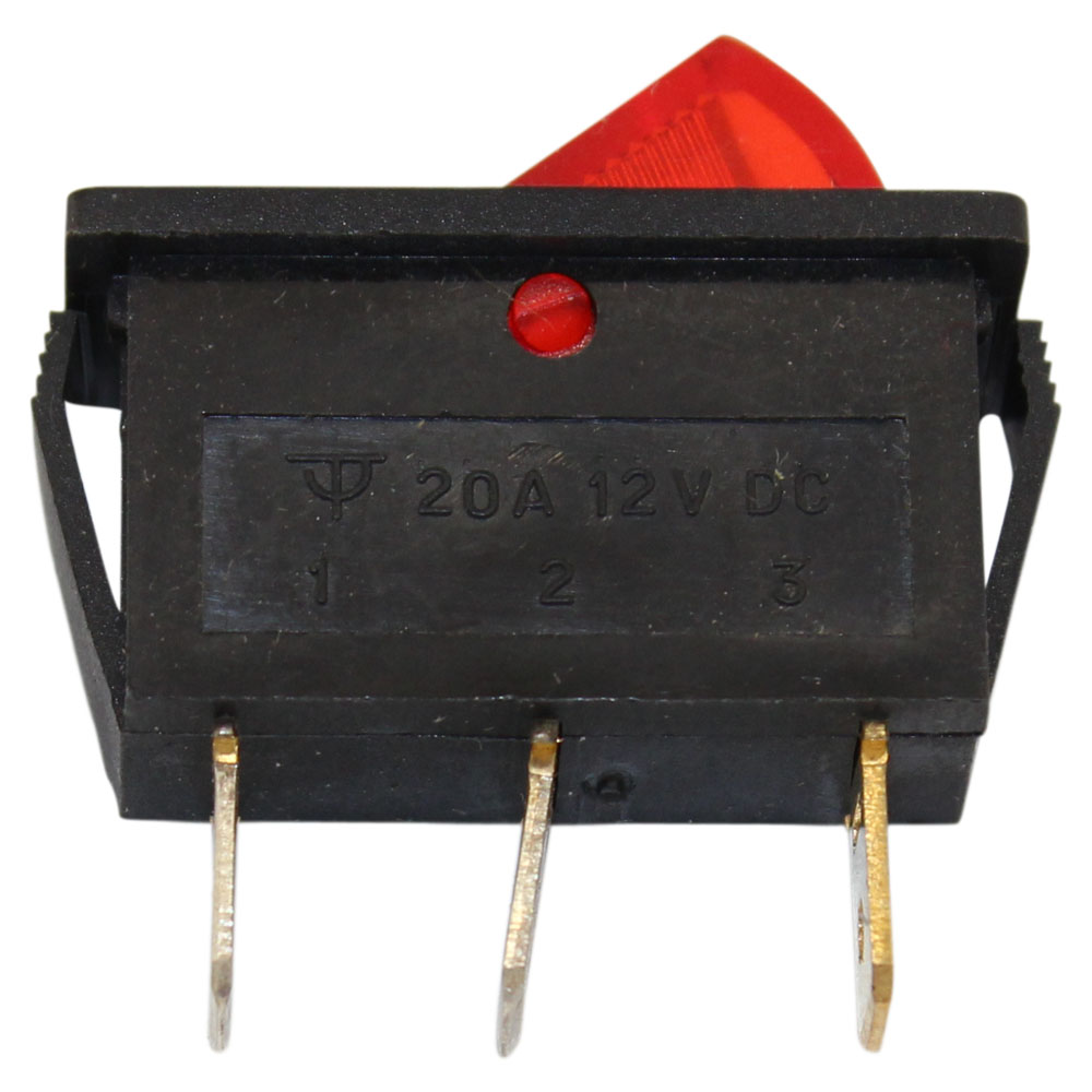 SPST ON/OFF Red Illuminated Rocker Switch