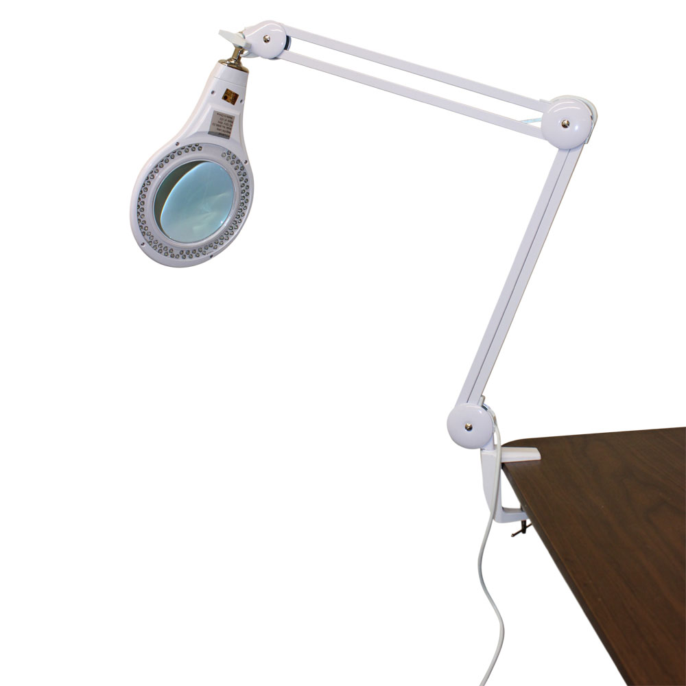 90 LED `Clamp Mount' Table Lamp with Glass Magnifier Lens