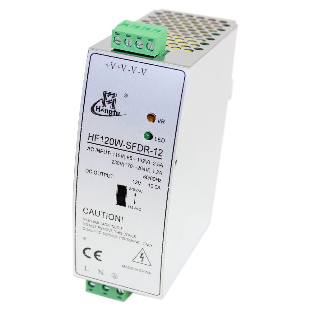 12 Volt Power Supply Enclosed Switching Fuse Box V 120 Watt Din Rail Mt