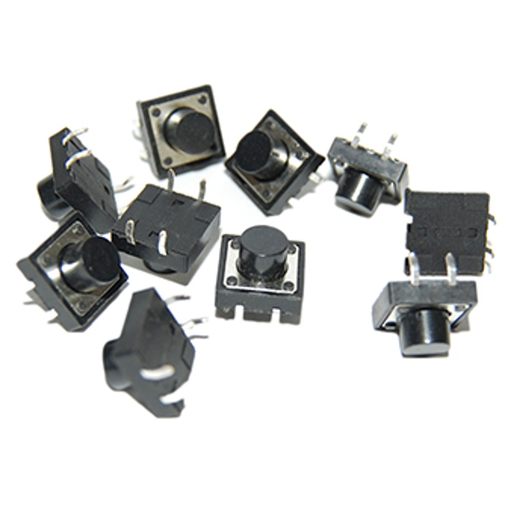 Momentary Push Button Switch - 12mm Square (10 pack)