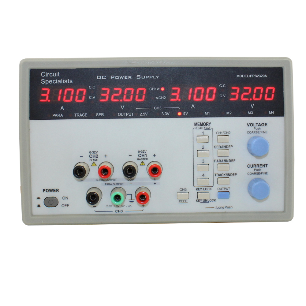 32 Volt DC 3.0 Amp Three Output Programmable Linear Power Supply