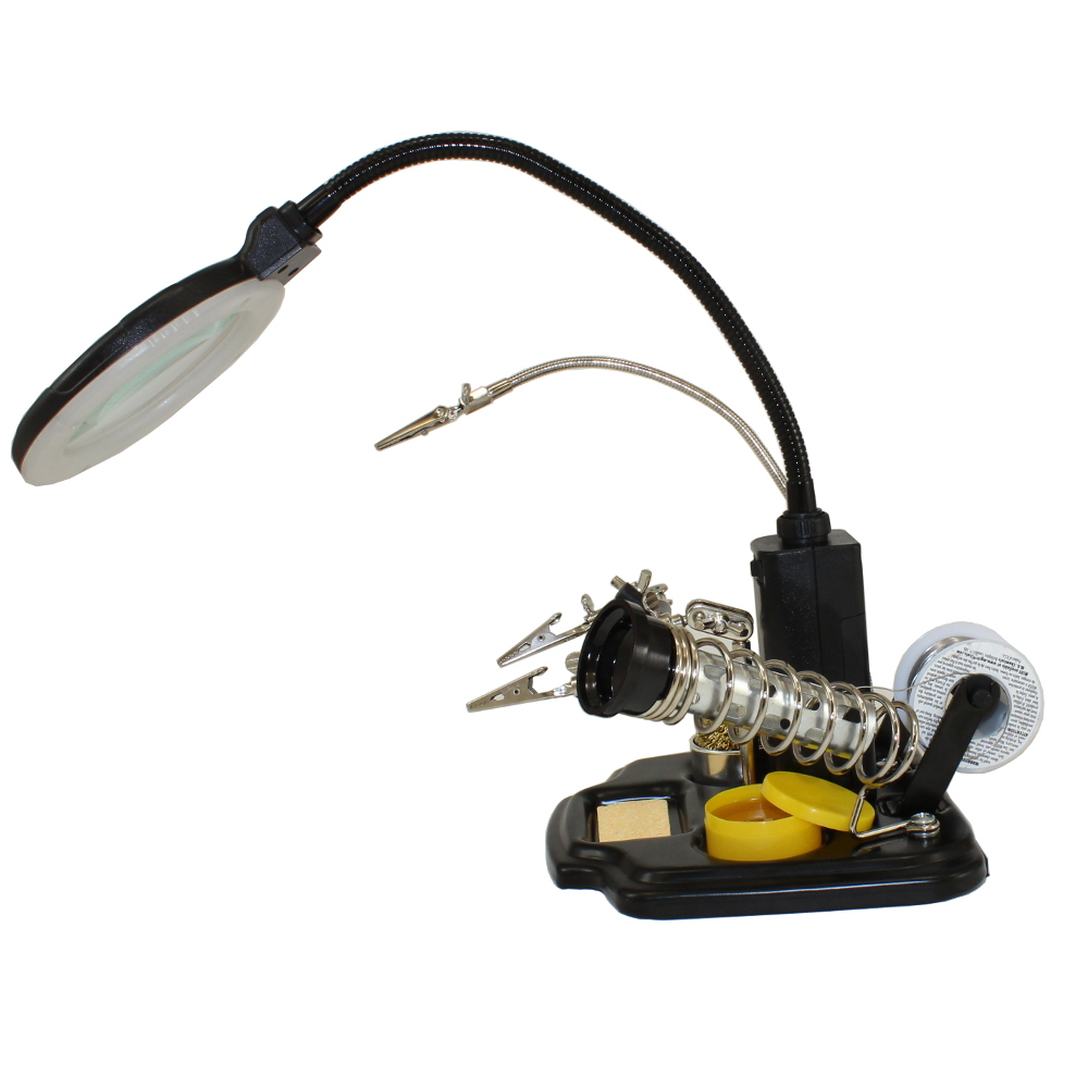 LED Light/Magnifieir, Helping Hand, Soldering Iron Stand Combo