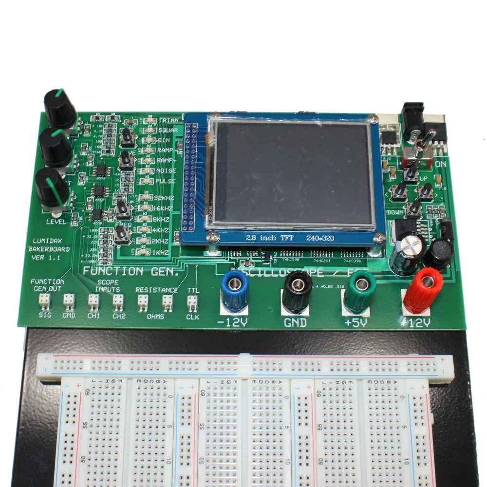 Breadboard With Oscilloscope Function Generator And Analyzer Working Of Circuit Deluxe Powered