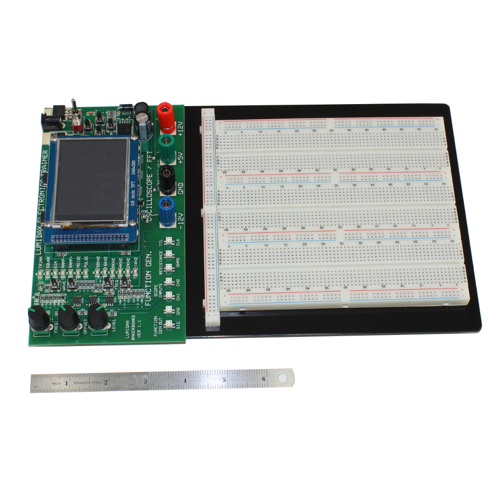 Deluxe Powered Breadboard With Oscilloscope, Function Generator and Analyzer