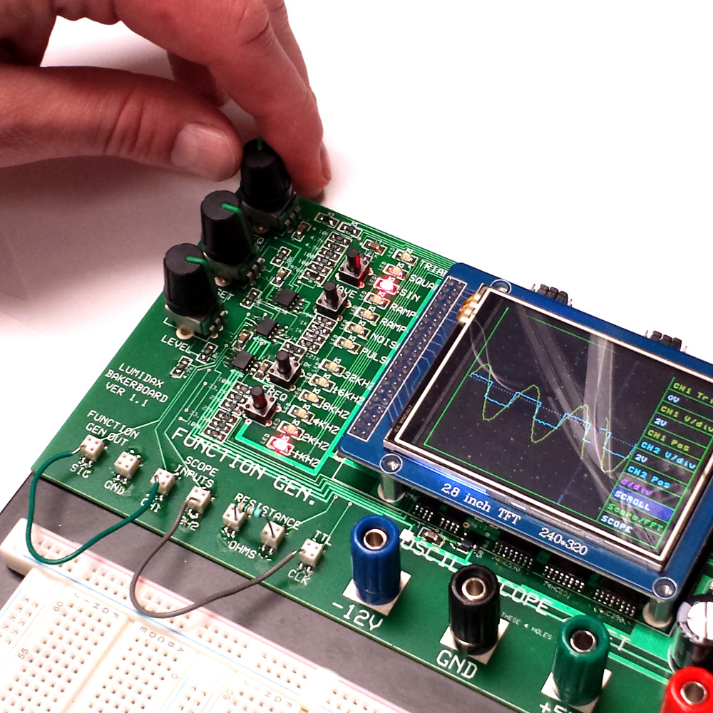 Breadboard With Oscilloscope Function Generator And Analyzer Electronic Circuits Deluxe Powered