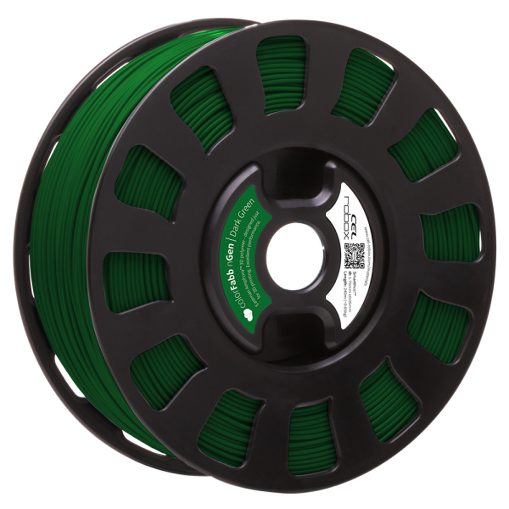 COLORFABB NGEN FILAMENT IN DARK GREEN ON A ROBOX REEL.