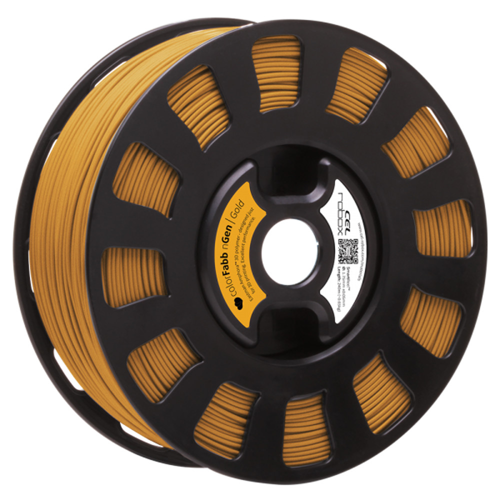 COLORFABB NGEN FILAMENT IN GOLD ON A ROBOX REEL.
