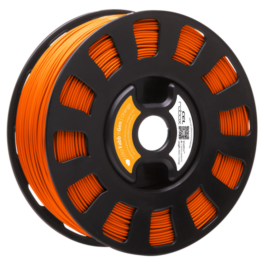 COLORFABB NGEN FILAMENT IN ORANGE ON A ROBOX REEL.