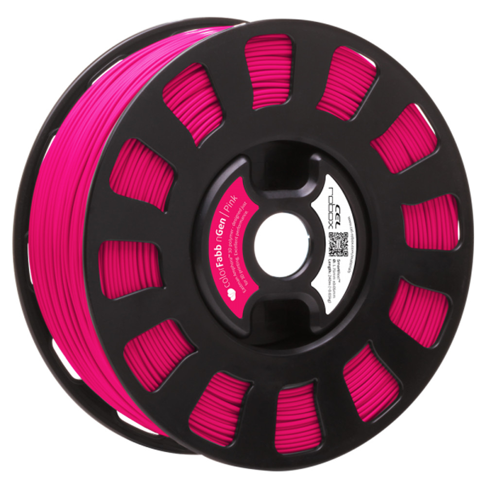 COLORFABB NGEN FILAMENT IN PINK ON A ROBOX REEL.