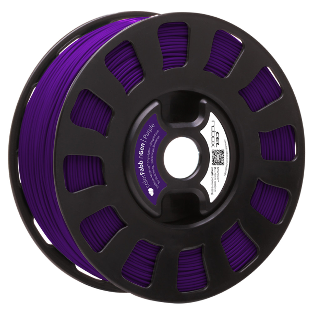 COLORFABB NGEN FILAMENT IN PURPLE ON A ROBOX REEL.