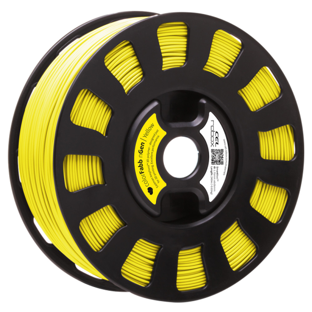 COLORFABB NGEN FILAMENT IN YELLOW ON A ROBOX REEL.