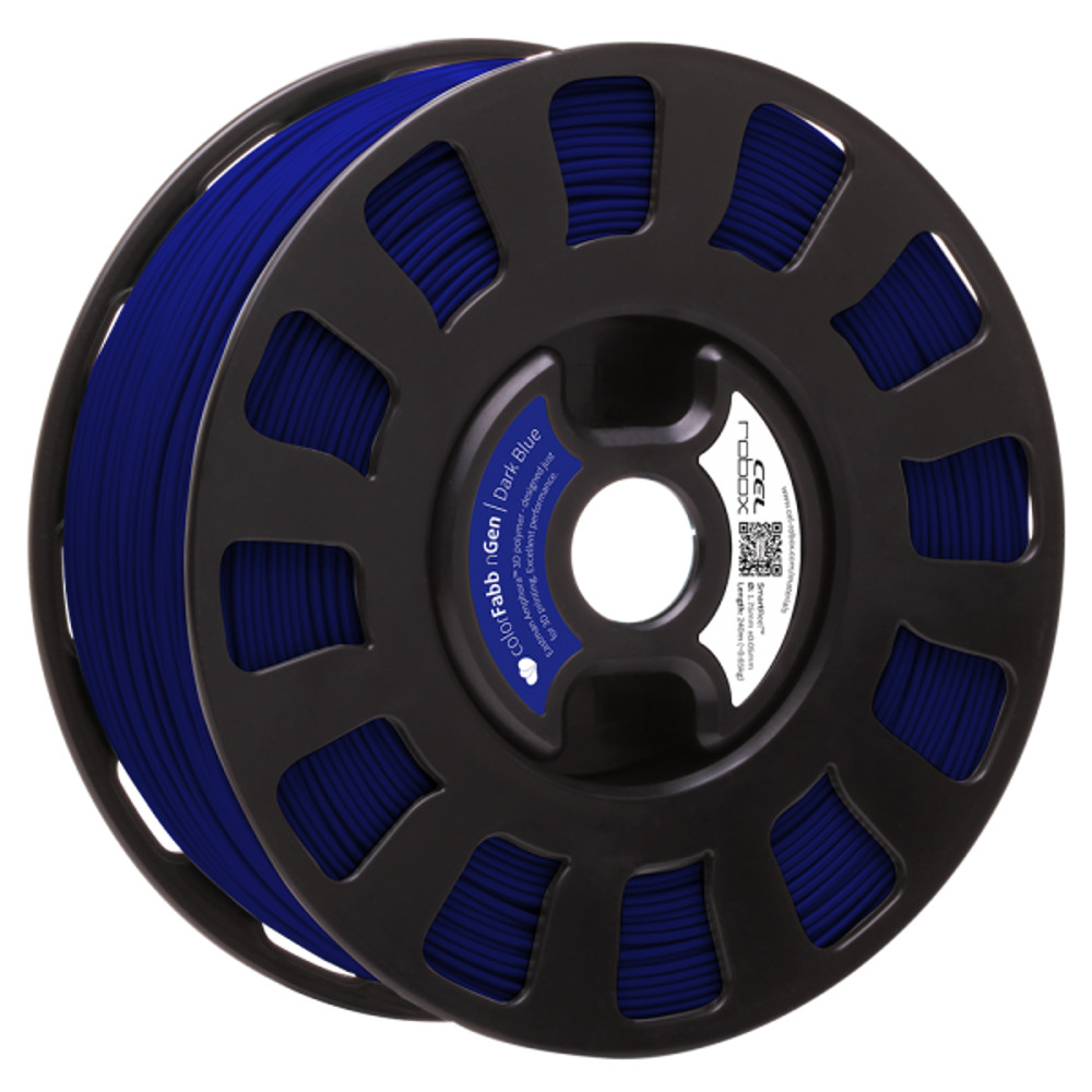 COLORFABB NGEN FILAMENT IN DARK BLUE ON A ROBOX REEL.
