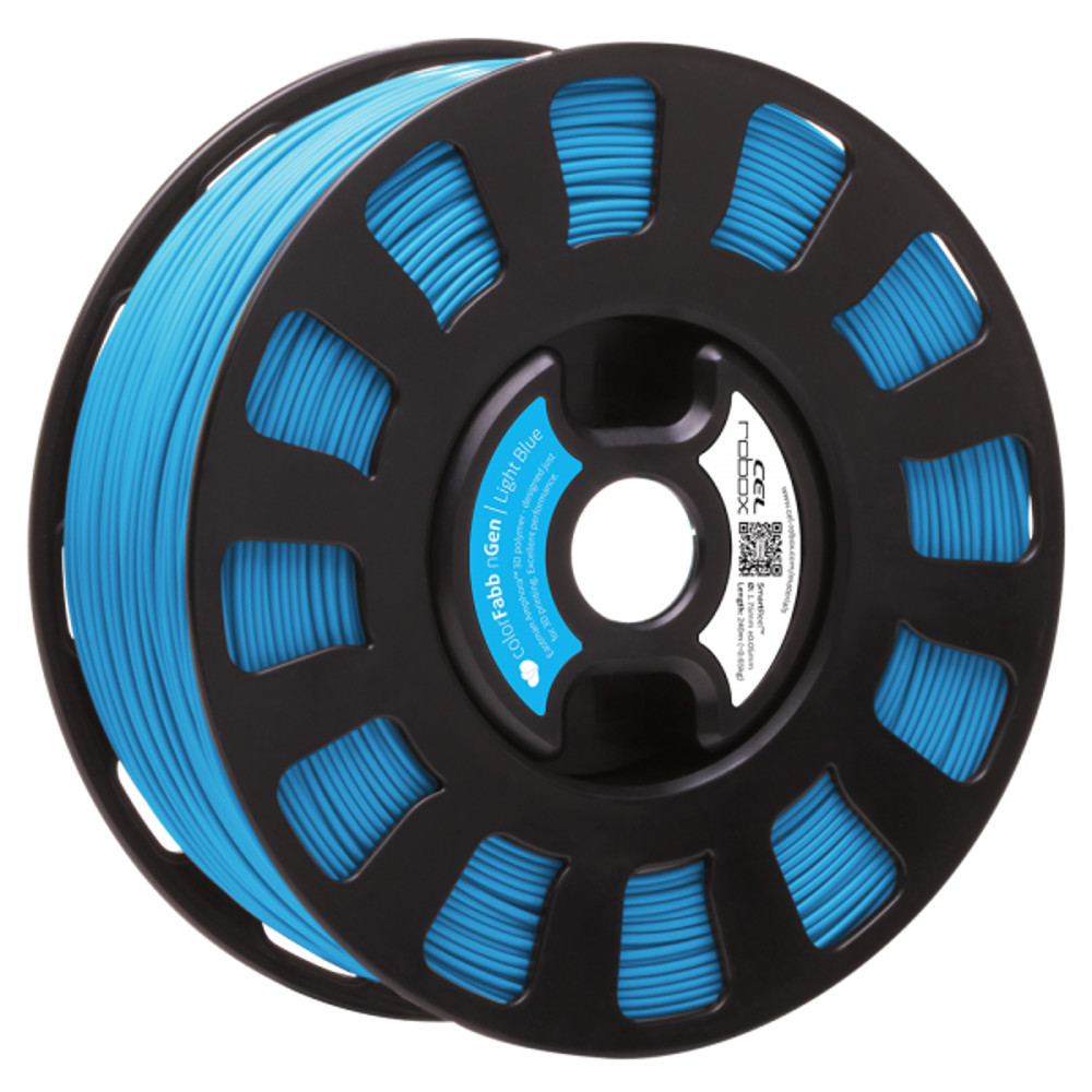 COLORFABB NGEN FILAMENT IN LIGHT BLUE ON A ROBOX REEL.