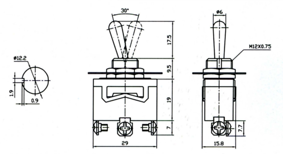 spdt on  off  on medium duty toggle switch