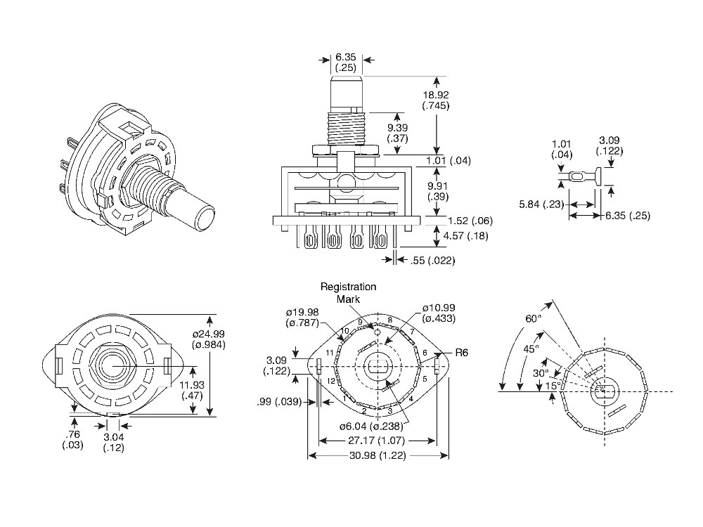 10YX025 1 2 pole 5 position rotary switch 4 Flat Trailer Wiring Diagram at soozxer.org