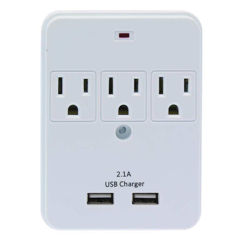 3-OUTLET SURGE PROTECTED WALL TAP