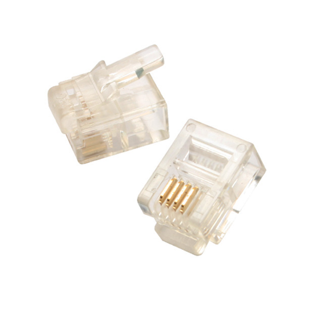 Modular Plug, 6P4C - Round Cable - Solid Wire - 50uin, 1000 pcs per bag