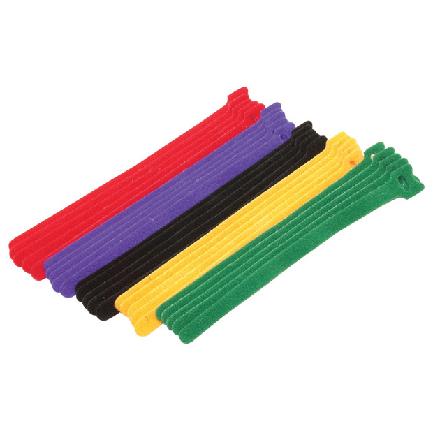 Hook & Loop Cable Tie Assortment 15 pcs - 3 each color