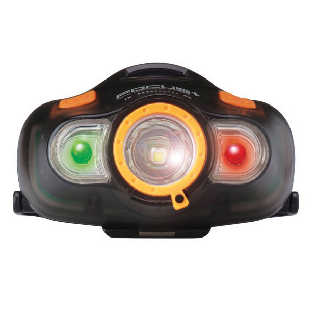 FOCUS LED HEADLIGHT W/ WHITE, RED, GREEN CREE XP-C TRANSPARENT BLACK, ECLIPSE LOGO PAD PRINTED BATTERIES NOT INCLUDED