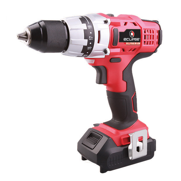 20V CORDLESS DRILL, 1.5AH LI-ION BATTERY, 1 HOUR FAST CHARGER, IN BLOW MOLDED CASE INCLUDES: 6 PC DRILL BITS, 6 PC SCREW BITS, BIT EXTENSION, MANUAL, FAST CHARGER