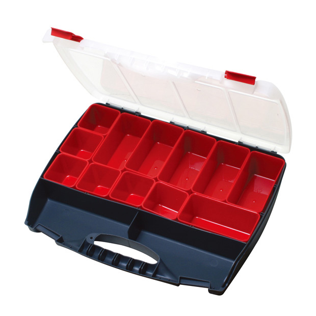 COMPARTMENT STORAGE CASE, 12 REMOVABLE COMPARTMENTS, UP TO 14 TOTAL COMPARTMENTS..