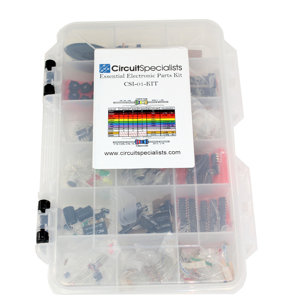 Essential Electronic Parts Kit From Circuit Specialists Hobby Electronics Student Projects Circuits Kits