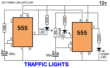 traffic light electronics project with a 555 timer rh circuitspecialists com stop light schematic diagram Telephone Schematic Diagram
