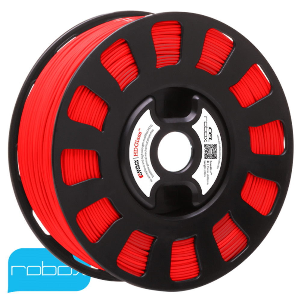 FORM FUTURA PETG FILAMENT IN RED ON A ROBOX REEL.