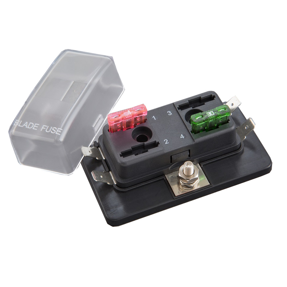 BLR-I-304 - Fuse Block with LED - 4 Pole – Regular Auto Blade on led car fuses, automotive blade connectors, automotive glass fuses, different types of fuses, types of automatic fuses, mini blade fuses, buss automotive fuses, dimensions of blade fuses,