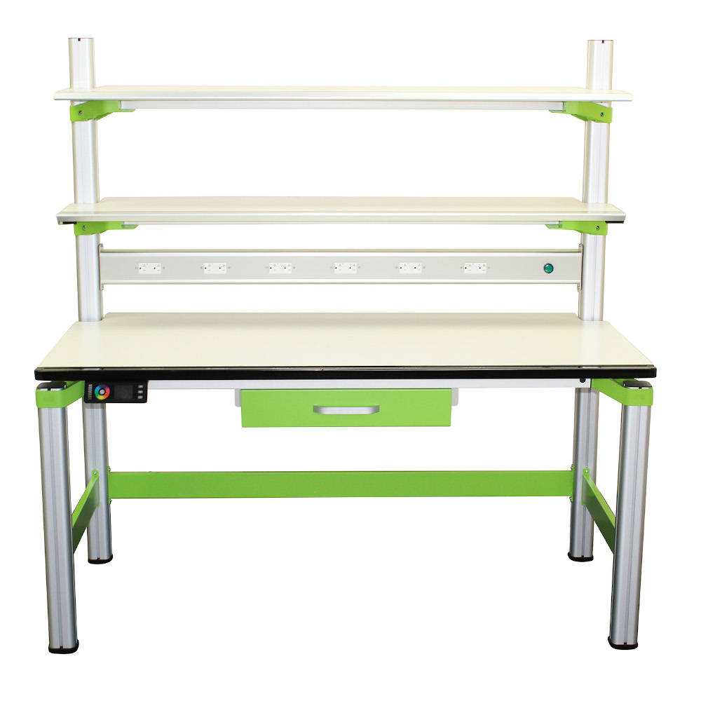 5 ft. Electronics Workbench with Multi-Color LED Lighting and Heavy Duty Shelves
