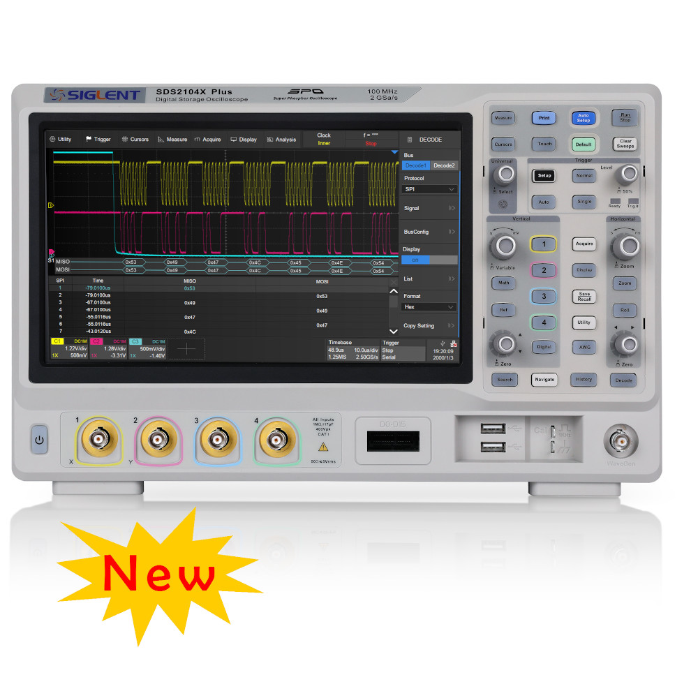 100MHZ, 4 CHANNELS, 2GSA/S. DIGITAL STORAGE OSCILLOSCOPE. 200M MEMORY, TOUCH SCREEN, BUILT-IN 50 MHZ AWG