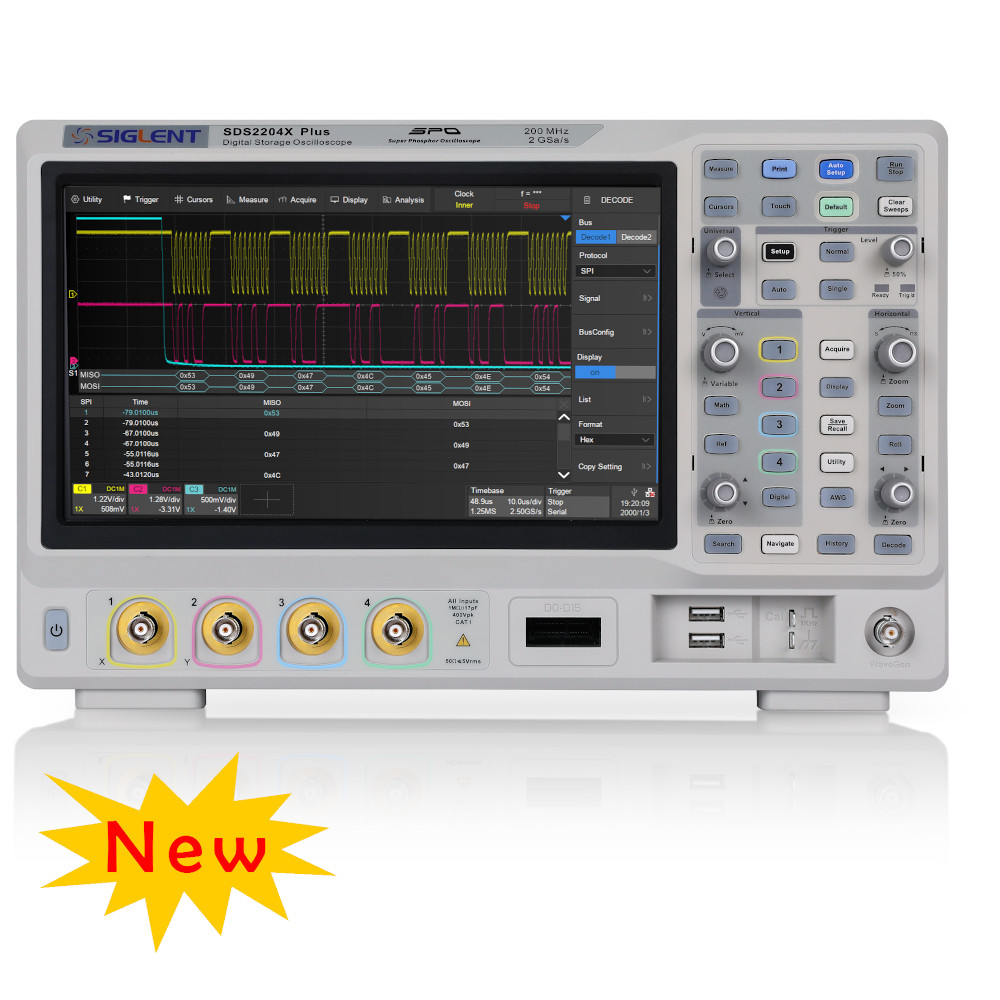 200MHZ, 4 CHANNELS, 2GSA/S DIGITAL STORAGE OSCILLOSCOPE. 200M MEMORY, TOUCH SCREEN, BUILT-IN 50 MHZ AWG