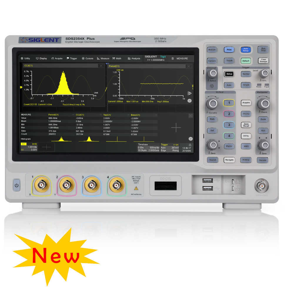 350MHZ, 4 CHANNELS, 2GSA/S DIGITAL STORAGE OSCILLOSCOPE. 200M MEMORY, TOUCH SCREEN, BUILT-IN 50 MHZ AWG