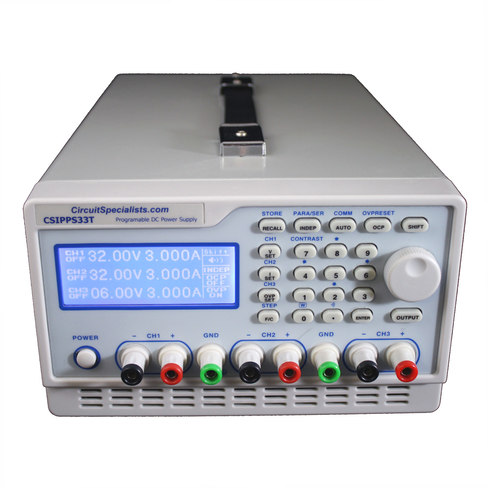 3 Channel 5 Amp Programmable Bench Power Supply