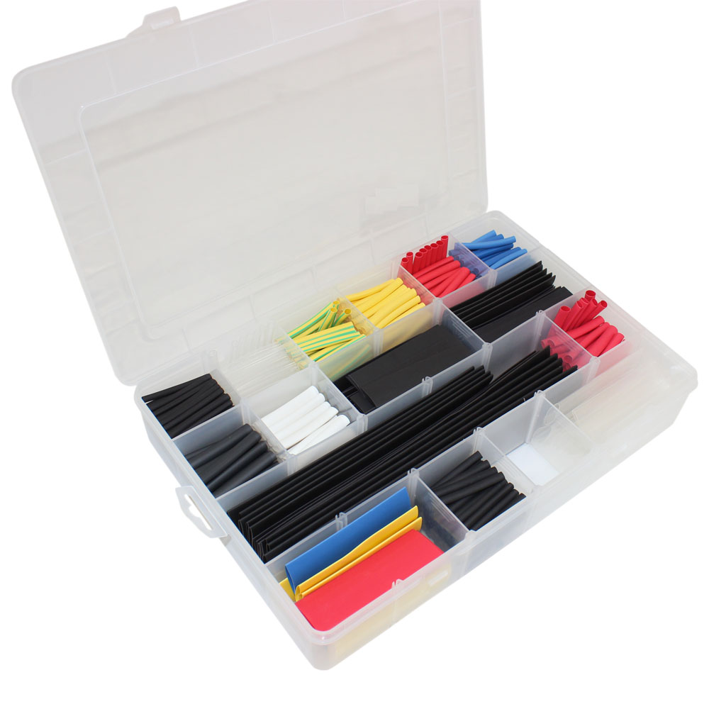 595 PCS ASSORTED THIN WALL TUBING IN ORGANIZER BOX
