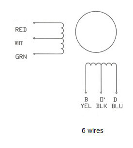 6_wire nema 23 stepping motor 13 0 kg cm 6 wire 57bygh302 nema 17 stepper motor wiring diagram at love-stories.co