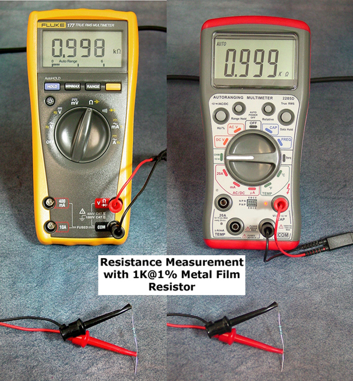 Resistance Measurement with 1K@1% Metal Film Resistor