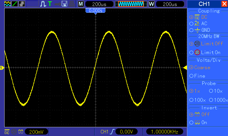 Normal scope display of the same 1 Khz Sine wave.