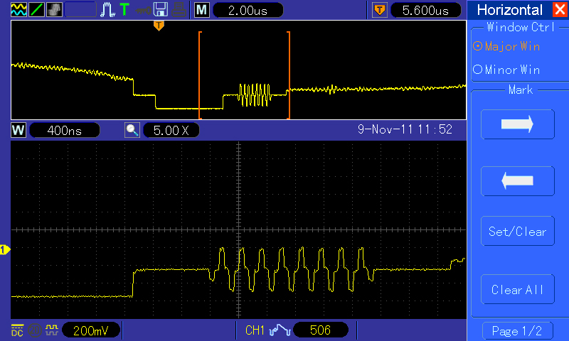 "Another example of the ""ZOOM"" feature showing the color burst signal on the backporch of the Horizontal sync pulse."